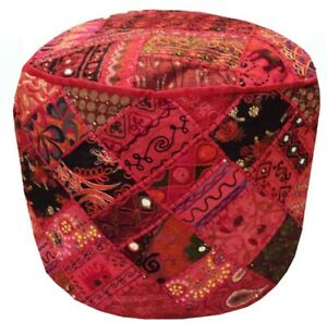 24'' Indian Patchwork Round Ottoman Pouf Cover Footstool Pouffe Vintage Moroccan