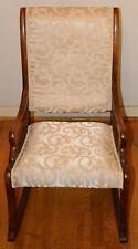 Vintage Wooden Rocking Chair Rocker White Upholstered Seat & Back Nr