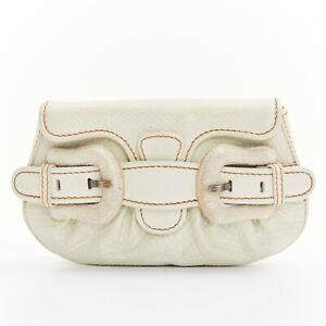 FENDI genuine white python leather bead embellished buckle small clutch bag