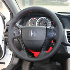 Anti Slip Black Leather Hand Sewing Steering Wheel Cover For Honda Accord 9th