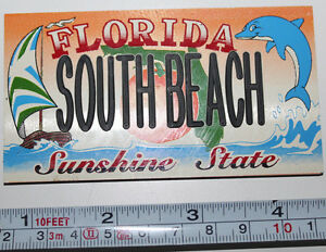Florida South Beach Sunshine State Dolphin Sailboat Rubber Magnet