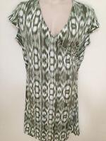 $94 (NWT) Jones New York Women's Plus Size 3X Green Faux Wrap Cap Sleeve Dress