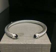 David Yurman 925 cable classics cuff  with black onyx and diamonds 5mm, 25 gr
