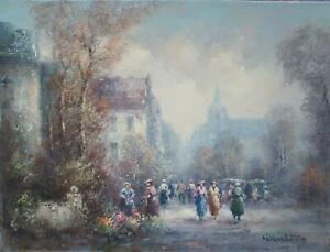 Hermann Wiesehöfer altes Stadt Gemälde Personen beim Blumen Markt 30x40cm Öl