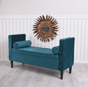 Panca Panchina Imbottita Con Contenitore Cassapanca Velluto Sofabank Art Deco