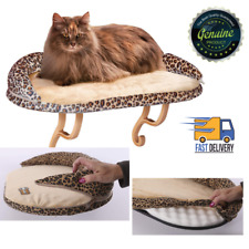 Deluxe Kitty Sill Window Mounted Cat Perch with Bolster Leopard Print 24-in