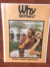 """1968 """"Why 100 Pipers?""""  Seagram's Print Ad"""