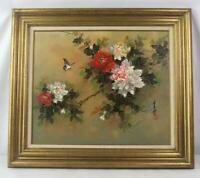 Large Vintage Asian Butterfly Flower Nature Scene Painting Oil on Canvas Framed