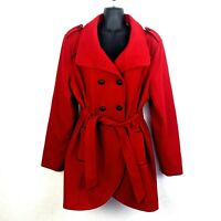 GUESS Womens XL Red Wool Blend Tied Belted Trench Pea Coat Jacket