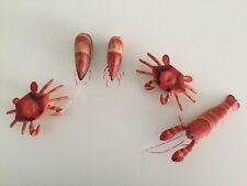5 Cajun Louisiana Craw fish & crab wood shrimp napkin ring Wooden Table Beach