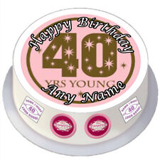 40th Birthday Female Round Edible Cake Topper Personalised for 7 / 8 inch Cake