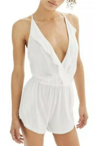 Topshop Womens Small White Ruffle Wrap Jersey Knit Lace Trim Romper Deep V Neck