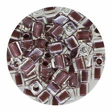 Square Glass Beads Japan 4mm Miyuki Cube Coffee Lined Crystal