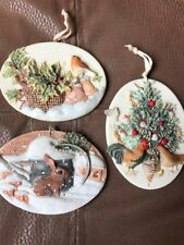 Hallmark (3) 1996 Marjolein Bastin Natures Sketchbook Rabbit, Hen, Bird Ornament