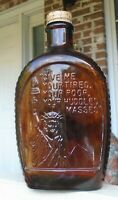 Vintage Embossed Lady Liberty Stars Amber Glass Log Cabin Syrup Bottle w/Cap