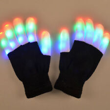 LED Rave Flashing Gloves Glow 7 Mode Light Up Finger Lighting Black New ^^