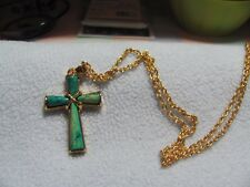 """Dyed Green Shades Onyx w/ Gold Tone Accents 24"""" Pendant Necklace"""