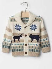 GAP Baby / Toddler Boys Size 12-18 Months Ivory Fair Isle Shawl Cardigan Sweater