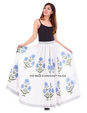 Womens Floral Gypsy Long Maxi Full Skirt Summer Beach Sun Dress Cotton Indian