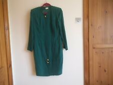 Ladies long sleeved green silk coat dress from Betty Barclay Size 14