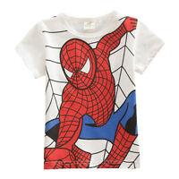 Kids Boys Spiderman Tops Short Sleeve T-Shirts Summer Tee Top Age 2-7 Years