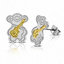 Earrings Instrument Musical Guitar Steel 2 Tones Bear