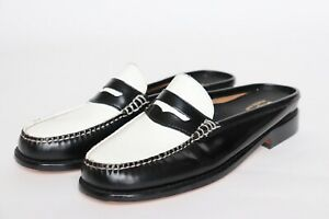 Bass Weejuns Loafers Mules Slides Black White Leather Womens UK 4