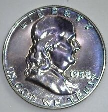 1958 FRANKLIN SILVER 50 CENTS NEAR PERFECT PROOF RARE THIS NICE!