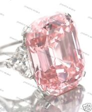 Certified 13*16MM Asscher Cut Light Pink Cut Engagement Wedding 14K Gold Ring