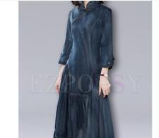 Denim Dress with full skirt and Vintage Mandarin Collar - Size S