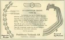 1953 Fredriksons Verkstads Vadstena Sweden Conveyor Chains Breweries Dairies Ad