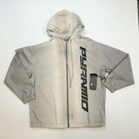 BLACK PYRAMID 100% AUTHENTIC MENS WIND BREAKER LS JACKET GRAY SIZE LARGE