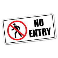 No Entry Sticker Decal Safety Sign Car Vinyl #5440K
