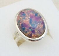 Vintage - 1950s Milky Pink Dragons Breath Fire Opal - Silvertone Adjustable Ring