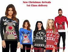 Women Ladies  Christmas Unisex Jumper Sweater Retro Novelty Plus Sizes 8-16 UK