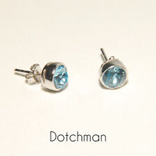 925 Sterling Silver Stud Earrings with Aquamarine Swarovsky Crystal. Great Gift.