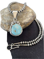 UNIQUE Navajo Pearls Sterling Silver DRY CREEK Turquoise Necklace Pendant 1180