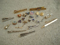 Lot of Tie Bar Clips Cuff Links Jewelry Vintage Some Swank Pins Charms Mixed