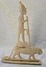 "Egyptian Camel Bone Akhenaten On Tiger Table Plaque 7.5"" Hand Carved"