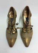 Stuart Weitzman Shoes Heels Lace-Up Cut-Out Metallic Gold Womens Size 5.5