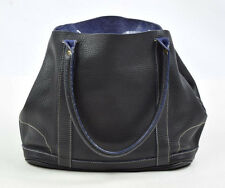 J.CREW Luxe Pebbled Navy Blue Leather Shoulder Hand Satchel Purse Bag Tote Sack