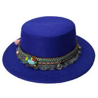 Ladies Women Wool Boater Hat Flat Top Pork Pie Cap Bowler Bohemia Tassel Ribbon