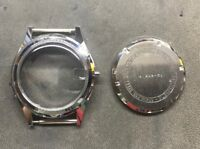 Cassa acciaio Ricambio Con Vetro Plexi Nuova Vintage 12615 K Fondo Acciaio 32 mm
