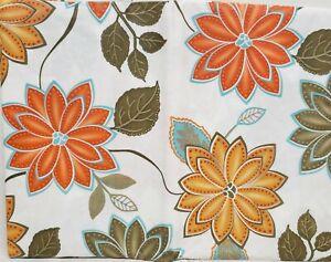 "Peva Vinyl Flannel Back Tablecloth 52""x70""Oblong,FLOWERS,ORANGE,YELLOW,GREEN,BH"