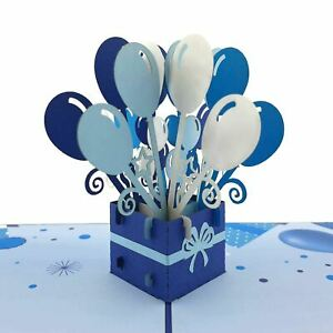 Happy Birthday Balloons (Blue) 3D pop up card