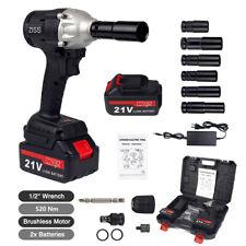 Cordless Electric Impact Wrench Gun 12 Driver Drill 520nm Li Ion 2 Batteries