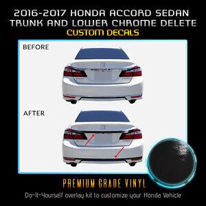 Fit 16-17 Accord Sedan Trunk Overlay Chrome Delete Blackout Kit - Gloss Black