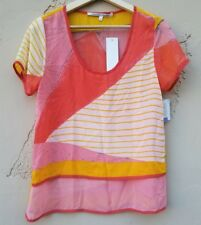 NWT Collective Concepts Womens Blouse Top Shirt Size Small Orange Short Sleeve