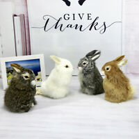 LD_ Mini Simulation Furry Rabbit Bunny Animal Model Plush Desk Car Ornament To