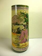 "ANTIQUE BELLEEK WILLETS ASIAN DESIGN DECOR 10""TALL VASE,ARTIST SIGNED"